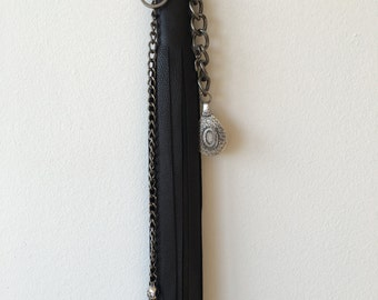 025 black leather keychain tassel large
