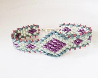 Beaded bracelet , superduo bracelet ,  Beadwork bracelet , Beadwoven bracelet , seed bead bracelet , Beaded super duo bracelet ,