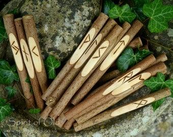 Elder futhark rune staves - Wayfaring tree Norse runes, Pagan rune set Asatru runes, carved wood rune sticks, handmade rune set, Pagan runes