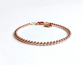 14K Rose Gold Filled Bead Bracelet - Tiny 3mm Beads - Everyday Wear -  14K Rose Gold Ball Bracelet - Pink Gold - Stacker Bracelet