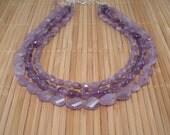 Amethyst Multistrand Purple Chunky Gem Necklace Amethyst Statement Necklace Light Purple Tiered Purple Amethyst Gemstone Multi Length
