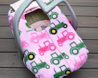Pink John Deere Baby Car Seat Cover by Sophie Marie Designs