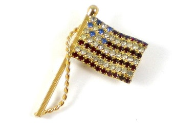 American Flag Brooch Pin  - Blue Red Clear Rhinestones Gold Metal - Patriotic Vintage Jewelry