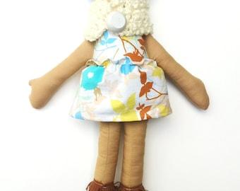 "Brown Cloth Heirloom Doll, 18"" Rag Doll, Blue Hair doll, Latina doll, African American Doll, biracial doll, Christmas doll"