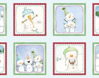 Snow Much Fun Fabric Panel in Cotton and Flannel