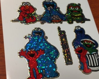 Rare 90s Prism Elmo Cookie Monster Oscar Grouch Sesame Street Stickers