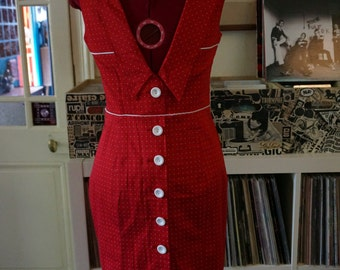Red white polka dot wiggle dress Stretch Button open Back Sailor rockabilly vlv pin up