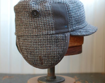 Woodsman S: Army style hat in grey wool tweed, castro hat with earflaps, mens wool hat, womens winter flap hat, made from upcycled clothing
