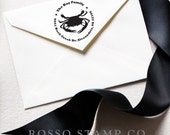 Address Stamp - Crab Stamp - Custom Stamp - Return Address Stamp - Blue Crab Stamp - Personalized Address Stamp
