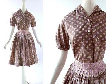 50s Two Piece Dress | Aztec Temple | Novelty Print Blouse and Skirt Set | 1950s Dress | XXS