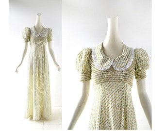 1970s Maxi Dress | 70s Floral Dress | Yellow Floral Dress | XXS XS