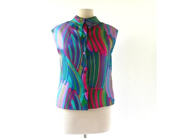 Vintage Silk Blouse / Chelsea Girl / 1960s Blouse / Large L