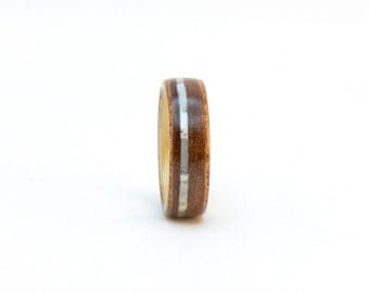Bentwood Band, Wooden Ring, Size 5, Madrone Burl and Ash Wood Ring with Mother Pearl, Wood Wedding Band, Bentwood Ring, Wooden Wedding Ring