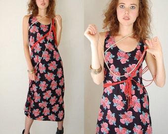 Floral Grunge Dress Vintage 90s Black Rose Floral Draped Grunge Maxi Dress  (s)