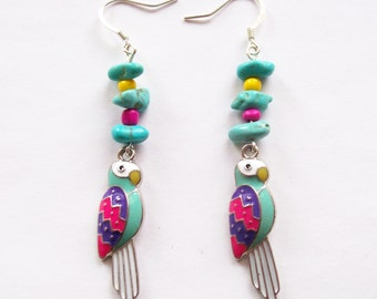 POLLY - Parrot Dangle Earrings- Whimsical Tropical Bird Jewelry