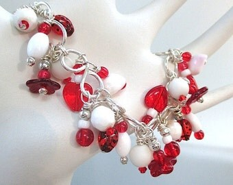 Festive Red White Holiday Bracelet, Sterling Silver Charm Bracelet, Christmas Jewelry, Hearts and Flowers, Romantic Valentines Day