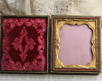 Antique Embossed Victorian FRAME- with Hook Clasps on Side- Red Velvet- Gold Embossed Frame- Tooled Leather- Travel Frame