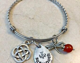 Sassenach Bangle Bracelet, Sassenach Jewelry, Sassench Bracelet, Scottish Thistle, Celtic Knot, Dragonfly in Amber, Celtic Jewelry