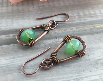 Wire Wrapped Handmade Jewelry Earrings Rustic Tribal Earrings Zen Jewelry Artisan Jewelry Wire Wrapped Earrings Boho Earrings