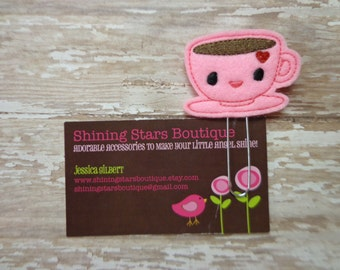 Felt Planner Clips - Neon Hot Pink And Brown Coffee Or Tea Cup And Saucer Drink Paper Clip Or Bookmark - Accessories For Planners