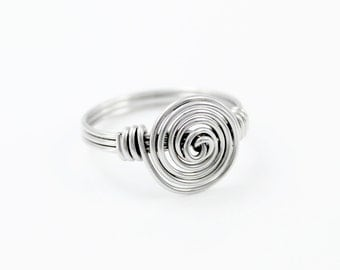 Stainless Steel Ring - Wire Ring - Knot Ring - Spiral Ring - Wire Wrapped Ring - Silver Rings - Wire Wrapped Jewelry - Hypoallergenic Rings
