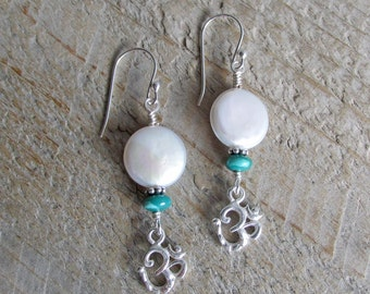 Sterling Silver Om Aum Coin Pearl Turquoise Earrings, Healing Gemstone Earrings