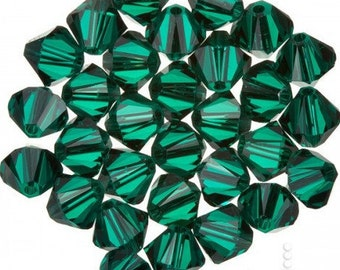 Swarovski crystal 3mm Emerald  bicones 5301 5328 25 beads  DESTASHING