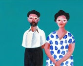 Early 80 - Original ACRYLIC painting on mdf- people paintings - love - vintage paintings- wall art