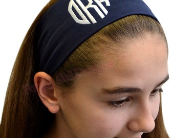 Monogrammed Initial Cotton Stretch Headband With EMBROIDERED CIRCLE FONT