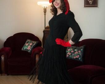 Vintage 1940s Dress - Enchanting Curve Hugging Black Rayon New York Creation 40s Cocktail Dress with Long Fringed Skirt