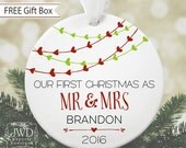 First Christmas as Mr & Mrs Ornament Personalized Christmas Ornament Bridal Shower Gift Newlywed Gift for Wedding Heart Garland #OR1601