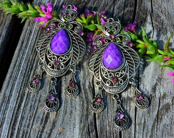 Large Silver Finish Metal Gypsy Moroccan Bohemian Long Chandelier Violet Crystal Earrings Boho Shabby Chic Victorian Dangle