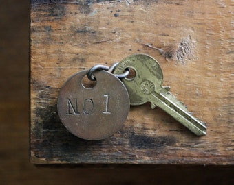 Number One, Rustic Metal Number Tag, Vintage Hardware, Vermont Salvage, Vintage Locker Tags