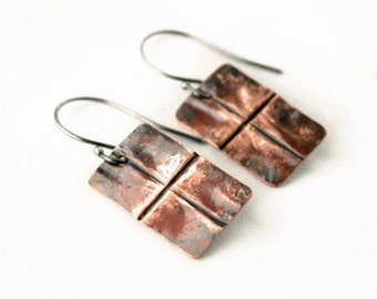 Copper Dangle Earrings - Copper Anniversary Gift - Unique Earrings - Gift Idea For Women - Metalwork Jewelry - Rustic Jewelry