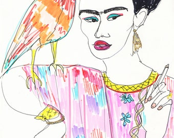 FRIDA KAHLO Drawing Special Edition Print / Portrait / mixed media / Feminist / Woman / Mexico / Bird / Smoking / size a4