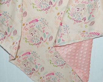 custom baby blanket- floral baby blanket- minky baby blanket- pink floral blanket- baby bedding- floral baby bedding- custom baby blanket