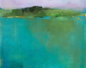 """Contemporary Abstract Landscape Giclee Print on Canvas, 20""""H x 20""""W, Landscape Print, Pond, Water, Green, Vermont, New England"""