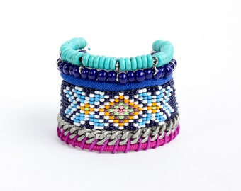 COLON ethnic statement bracelet with beaded strands and magnetic closure