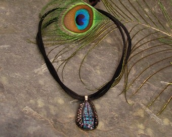 """Multicolor Dichroic Glass Choker ~ Statement Necklace with Black Satin Cord ~ adjustable 12"""" - 22"""""""