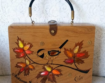 Enid Collins, Collins of Texas, Vintage, Wooden Box, Handbag, Autumn Song