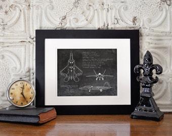 F-22 Raptor blueprint art, military aircraft blueprint, military art, military gift, airplane blueprint, aviation decor, gifts for him