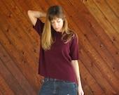 Maroon Oversized Knit Sweater Short Sleeves- Vintage 90s - MEDIUM