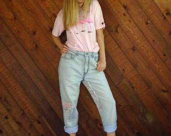 Patchwork High Waist Mom Denim Jeans - Vtg 80s 90s - 27/28