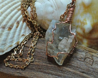 Prasiolite Raw Gemstone Necklace // Wire Wrapped Pendant Necklace // Mineral Jewelry // Rough Stone Necklace // Green Amethyst Necklace