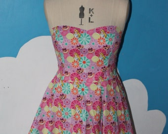 disneys alice in wonderland and cheshire cat sweet heart dress - all sizes