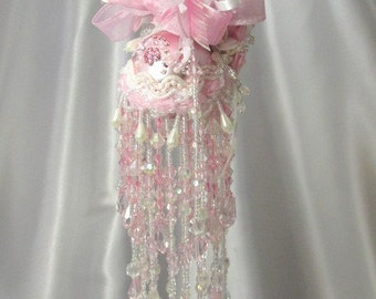 Pale Pink and White Crystal AB Beaded Victorian Ornament with 100 Swarvoski Crystals