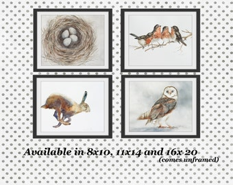 woodland nursery print woodland nursery art print SET Rabbit art PRINT rabbit Painting of rabbit Painting bunny owl nest bird art print