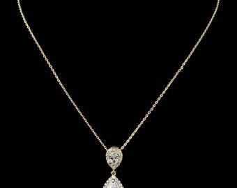 gold crystal bridal pendant necklace vintage style gold tear pear drop crystal bridal necklace Art Deco Baroque