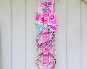 Preppy Pink Seersucker Bow Headband Hair Accessories Holder
