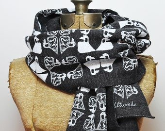 Hand Printed Swan Pattern Scarf- Eco Fleece (Red & Charcoal)